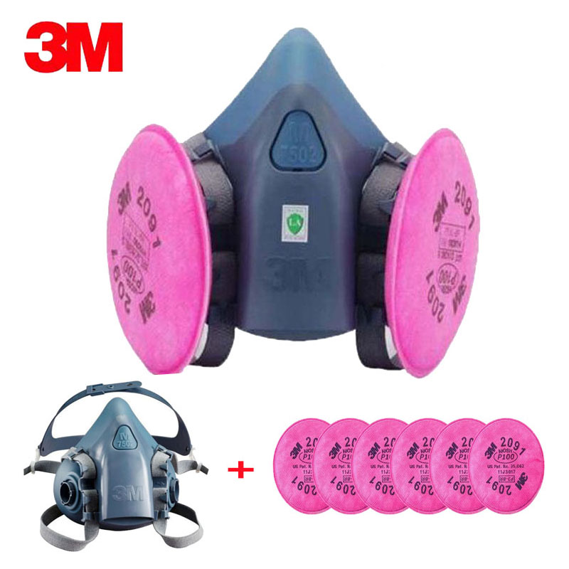 3 M 7502, 2091 P100 industria trabajo máscara 7 en 1 traje de pintura máscara de polvo respirador Spray polvo respirador Fliters