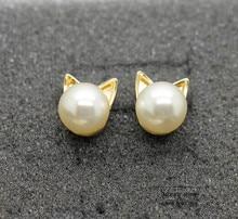 Super cute pearl-imitation cat-shaped inspired earrings