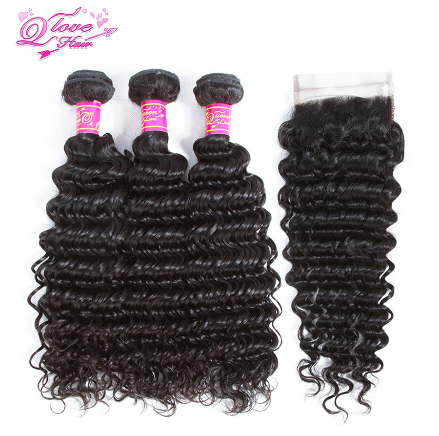 Queen Love Hair Pre-Colored Brazilian Deep Wave 3 Bundles With Lace Closure Human Hair Bundles With Closure 4Pcs Remy Hair
