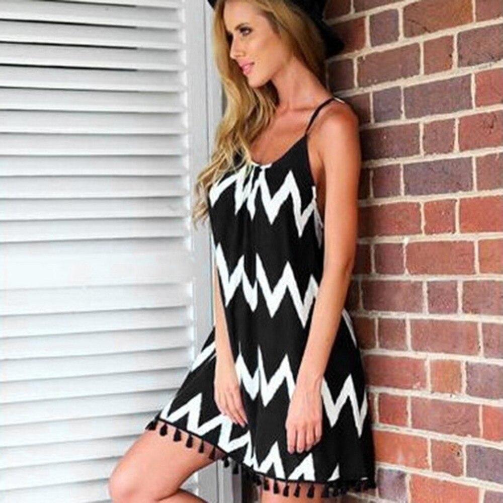 Wavy Strip Female Midi Dress Graceful Braces Shoulder Lady Dress Tassel Hem Women Summer Dress Chiffon Beach Dress