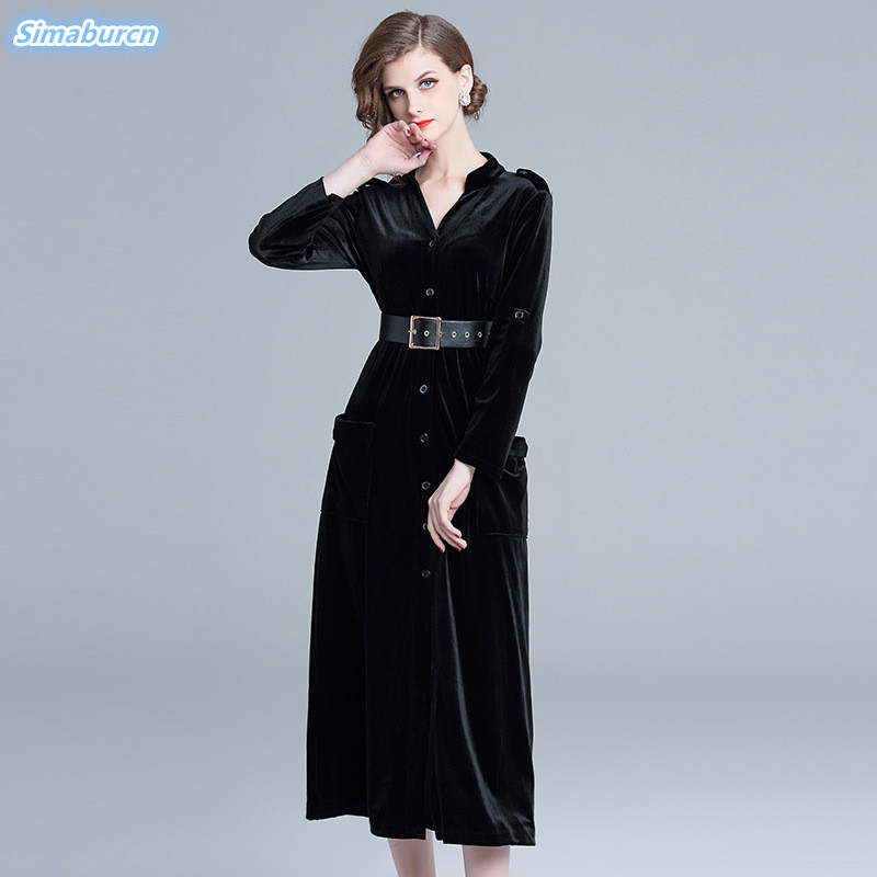 Elegant Black Velvet Dress Women 2020 Autumn Winter Dresses Woman Casual Ladies Long Sleeve Dress Party Dresses A-Line Vestidos