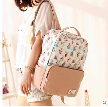 Small fresh student bag canvas shoulder bag Korean version of the British college wind travel backpack