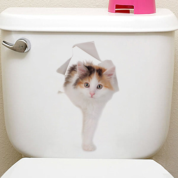 Cats 3D Wall Sticker Toilet Stickers Hole View Vivid Dogs Bathroom Home Decoration Animal Vinyl Decals Art Sticker Wall Poster 31