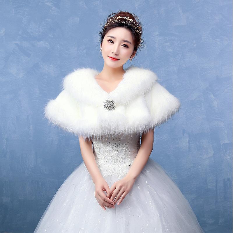blanc manteau de fourrure de mariage a vol le chle shrug nuptiale de bal bolero cape - Tole Blanche Mariage