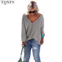 2016 Women Sweater And Pullovers Knit Sweater Women V Neck Autumn Long Sleeve Loose Women Sweater