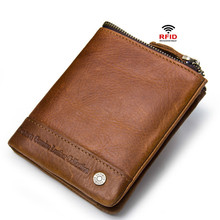 Luxury 100% Genuine Leather Wallet With Coin Pocket Purses Male Wallets Fashion Short Bifold Men Casual Soild