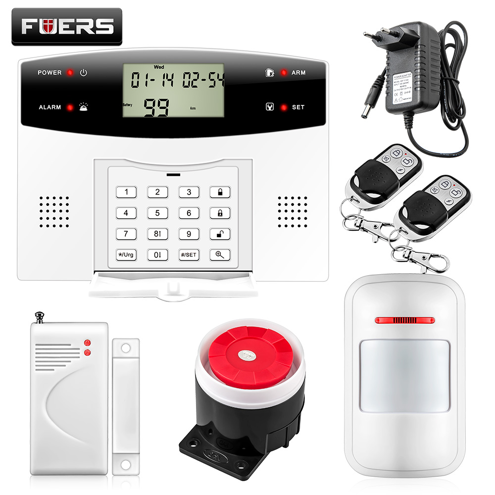 Fuers 433mhz Sensor 103 Zones GSM/PSTN SMS Home Burglar Security Voice Intruder Alarm System LCD Auto Dialer pir detector zones wireless pir home security burglar alarm system auto dialer with wireless door sensors detector new high quality