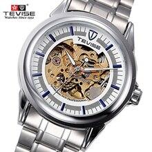 Marca de fábrica famosa de Los Hombres Huecos Reloj TEVISE Reloj Mecánico Automático Reloj Masculino Impermeable de Acero de Lujo Del Reloj Relogio masculino reloj