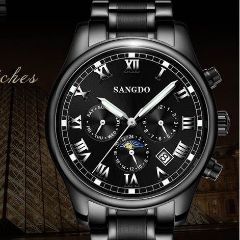 42MM SANGDO moon phase men s watch Automatic Self Wind movement Sapphire mirro High quality PVD