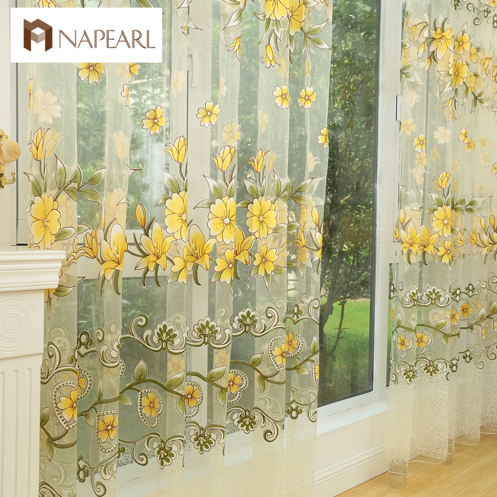 NAPEARL Fashion Design Modern Transparent Tulle Curtains Window Treatments Living Room Children Bedroom Colorful Yellow Sheer In From Home Garden
