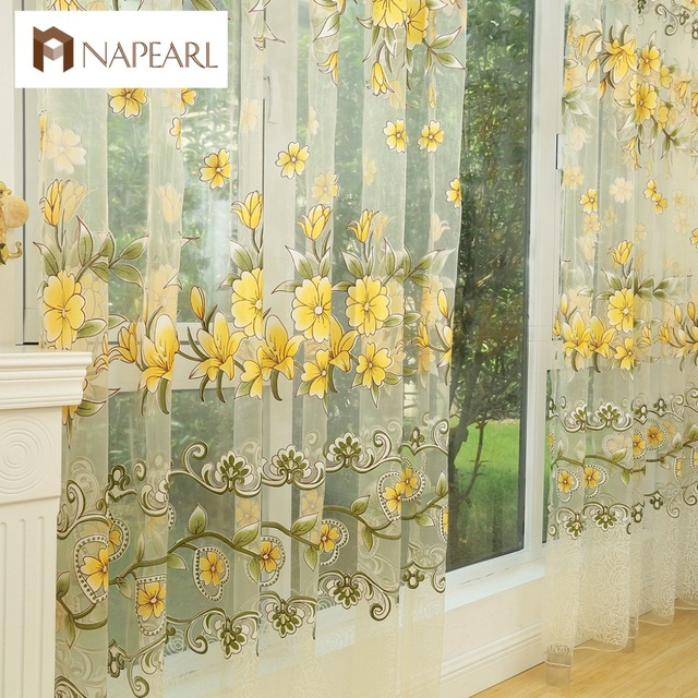 NAPEARL Fashion design moderno trasparente tende di tulle trattamenti di finestr