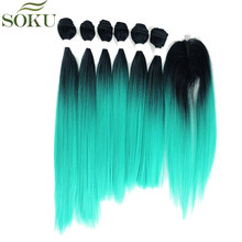 SOKU Straight Synthetic Hair Bundles With Closure 7pieces/pack 14-28 inch Yaki Hair Weave Bundles Free Shipping(China)