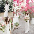 Дешевые белые кружева свадебное платье 2016 Boho чешские V шеи три четверти длиной до пола невеста свадебное платье