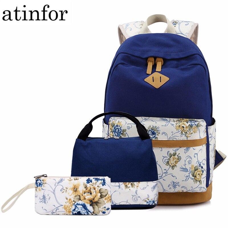 3pcs/set Women Backpacks Floral Canvas Printing Backpack Schoolbag Teenager Girl Rucksack For Lunch Box