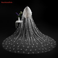 Hot Sell Bridal Veil Appliques White And Ivory 3*3 Meters Wedding Veils Lace Edge Weddings Long Veil With Combs