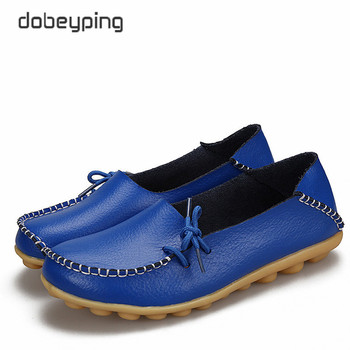 New Women Real Leather Shoes Moccasins Mother Loafers Soft Leisure Flats Female Driving Casual Shoe Size 34-44 With 24 Colors