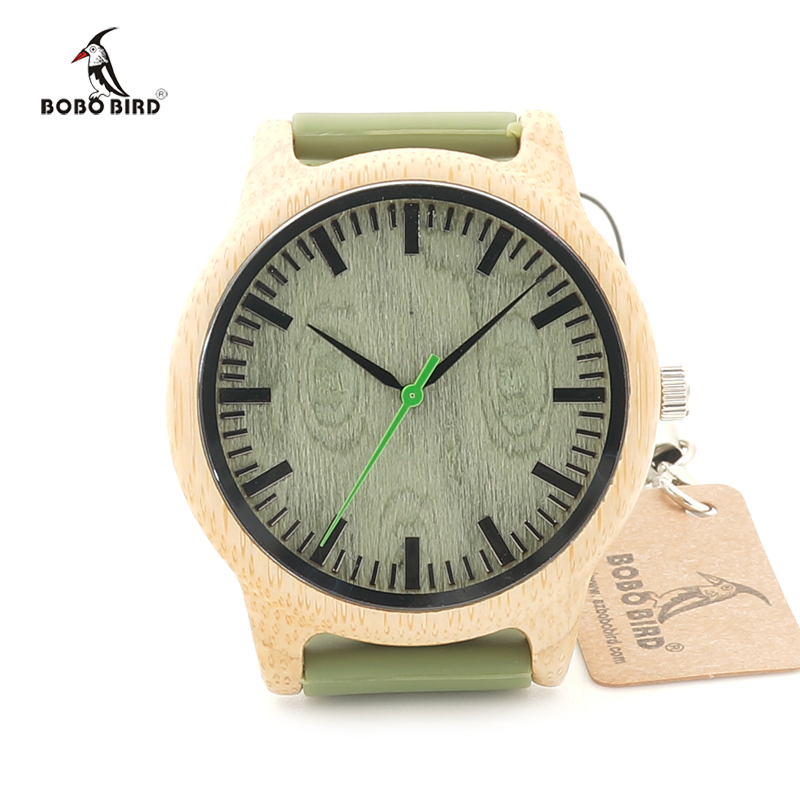 2017 Luxury BOBO BIRD Brand Bamboo Watches Silicone Strap Men and Women Wooden Writwatches Relogio Masculino