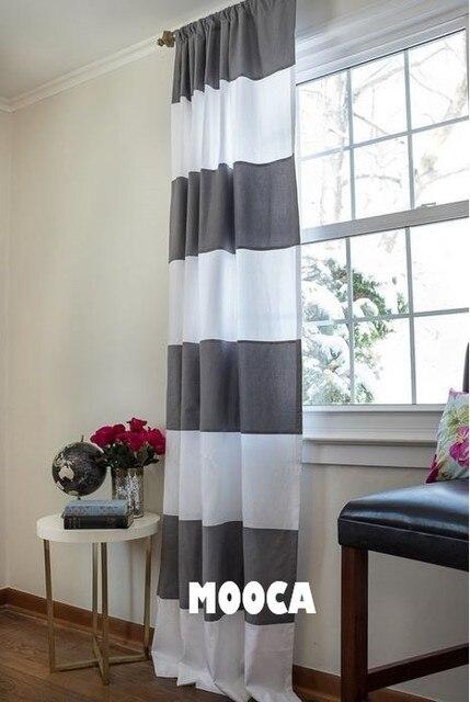Largeur 180 cm 100% coton gris et blanc bande horizontale rideau ...