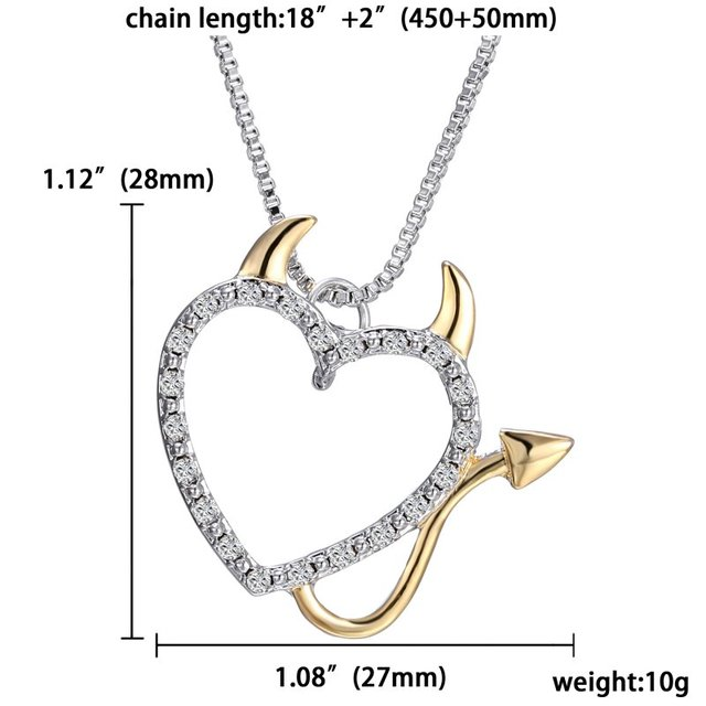 Devil Love Heart Necklace Pendant - Gold and Silver Plated 2
