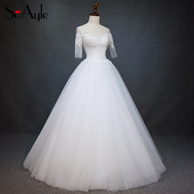 SoAyle Real Picture Wedding Dress 2017 Luxury Embroidery Beaded Dresses vestido de noiva White Ball Gown Wedding Dresses