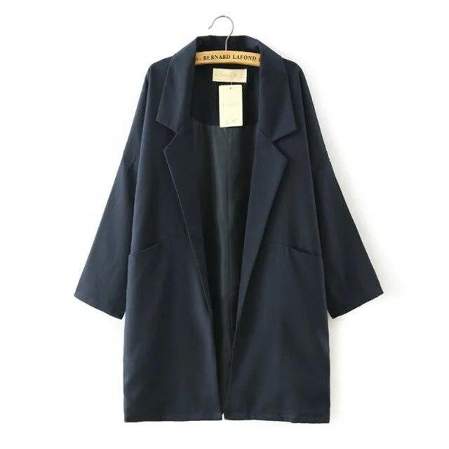 Coat Female 2016 Women Blazer Lapel Collar Long Sleeve Retro long section Thin coat loose Long Jacket