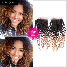 9A Brazilian Ombre Afro kinky curly virgin hair closure 1pcs ombre human hair lace closure 4×4 unprocessed human hair 1b-27