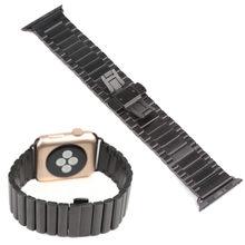 Новый замок бабочка ссылка браслет из нержавеющей стали часы для Apple , часы черный 38 мм 42 мм