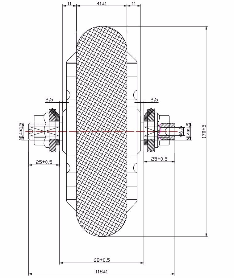 8inch double shaft geared hub motor