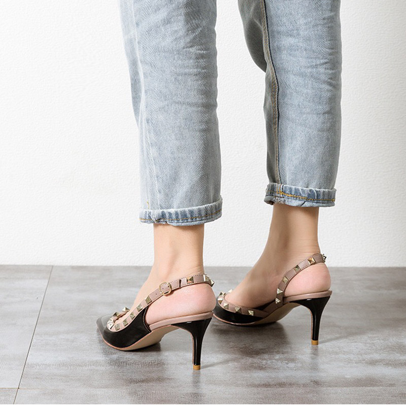 ZHENZHOU Pumps Rivets Openwork-Buckle Daily Classic High-Heels Pointed Sexy Fashion Woman
