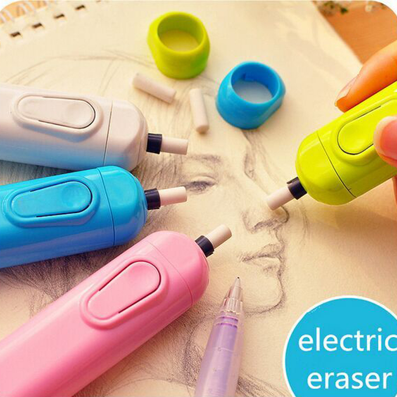 Der Went Battery Operated Eraser Electric Eraser Automatic School Supplies Leather Stationery Child Day Gift Material Escolar