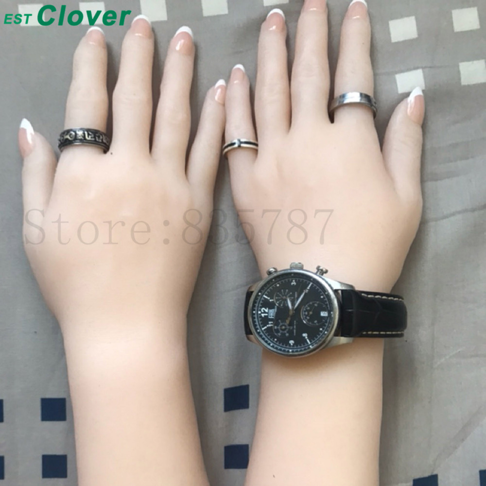 Silicone Hand,Sex toys Female Mannequin Hands, jewlry Display Finger-inner-bone C142 new 2pcs female right left vivid foot mannequin jewerly display model art sketch