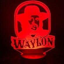 Unique Led Night Lamp Waylon Jennings Figure Nightlight for Adult Fans Bedroom Decoration Color Changing USB Light