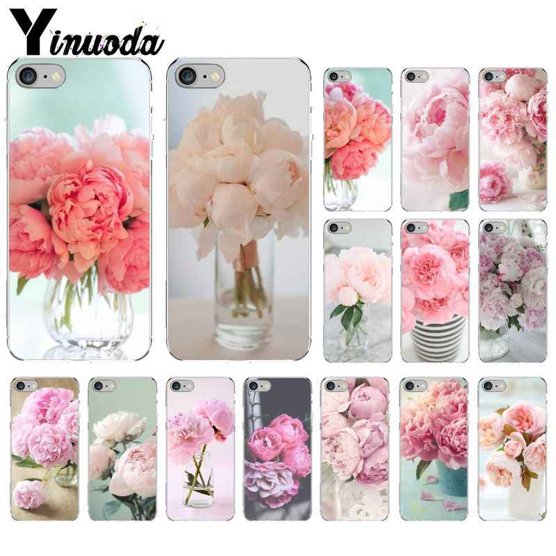 Yinuoda Pink Flower Peony On The Vase Pattern TPU Soft Cell Phone Case for Apple iPhone 8 7 6 6S Plus X XS MAX 5 5S SE XR Cover