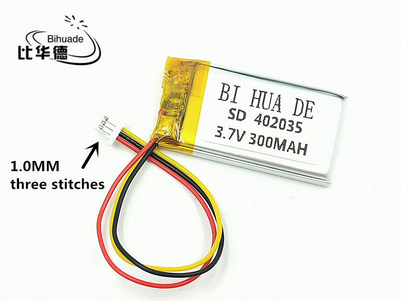 1.0 MM three stitches 3.7V 300mAH <font><b>402035</b></font> Polymer lithium ion / Li-ion <font><b>battery</b></font> for TOY,POWER BANK,GPS,mp3,mp4,cell phone,speaker image