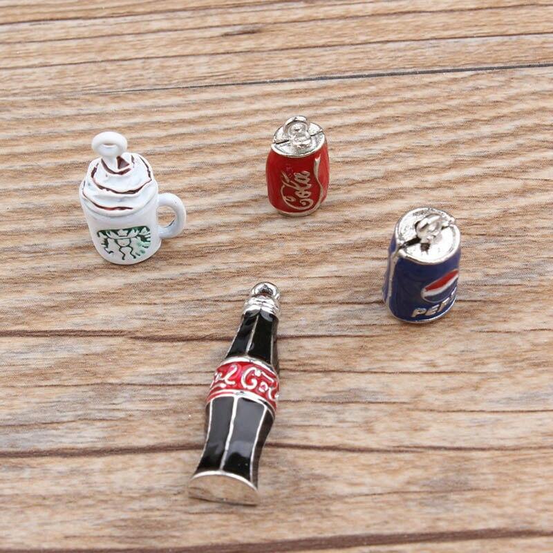 100 piezas lindo accesorios de joyería coreana dijes de Navidad colgante esmalte coque botella berloques para pulsera CH0030-in Amuletos from Joyería y accesorios    1