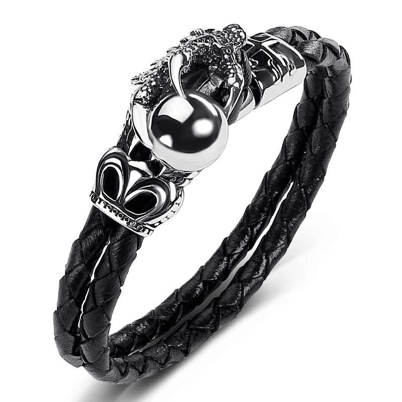 Men Genuine Leather Bracelet Single Claw Dragon Ball Bangle Black Weaving Charm Rope Chain Stainless Steel Bracelets Jewelry