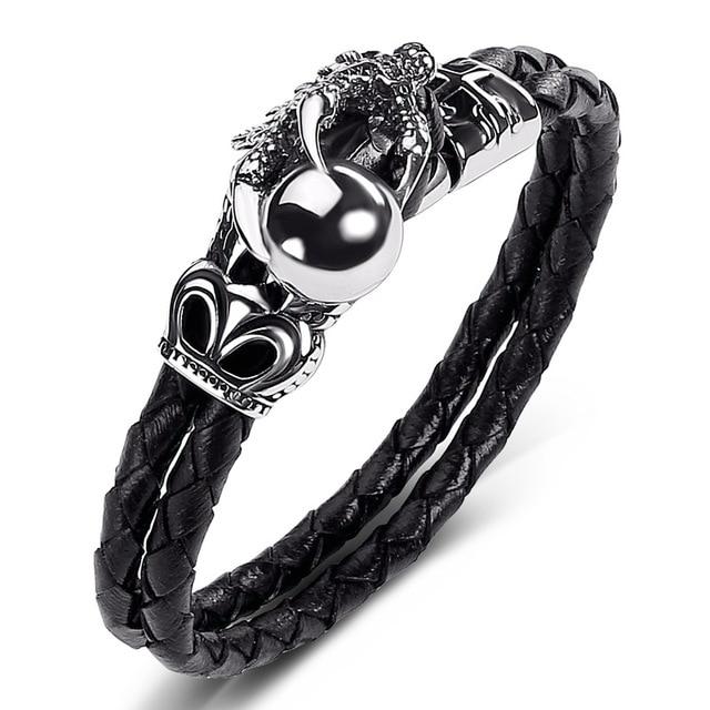 7da3268a643cf Men Genuine Leather Bracelet Single Claw Dragon Ball Bangle Black Weaving Charm  Rope Chain Stainless Steel Bracelets Jewelry