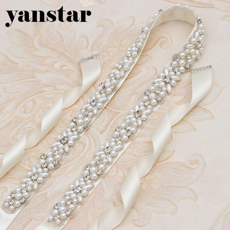 Brillant Yanstar Perlen Gürtel Dünne Strass Braut Gürtel Hand Perlen Elfenbein Gürtel Schärpe Für Prom Kleider 35wb803