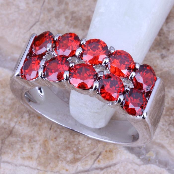 9daf23648c99 Encantador rojo granate plata estampada 925 mujeres anillo de la joyería  tamaño 6 7 8 9 R0511