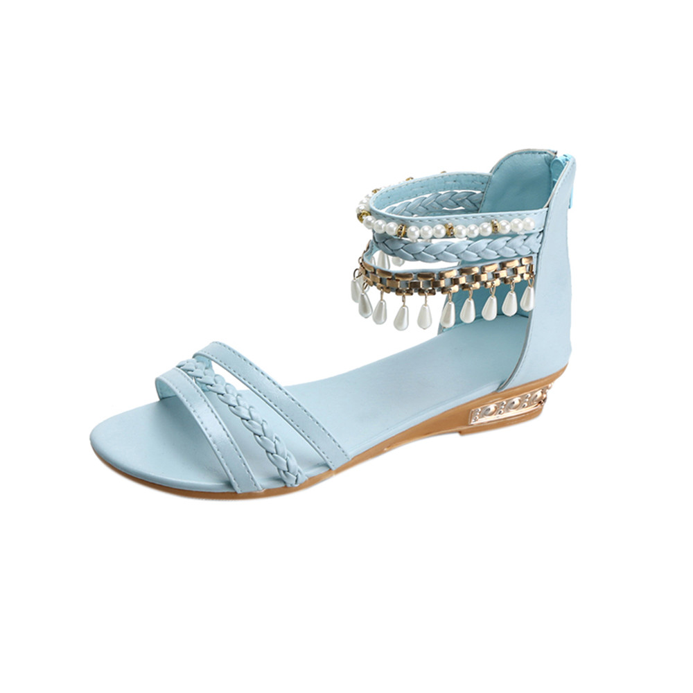 Summer String Bead Elegant Platform Shoes Woman Fashion Cover Heel Solid Pearl Wedges Sandals Casual Shoes Flat Basic Boot phyanic 2017 gladiator sandals gold silver shoes woman summer platform wedges glitters creepers casual women shoes phy3323