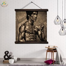 Kung Fu Star Bruce Lee Modern Wall Art Print Pop Art Picture And Poster Solid Wood Hanging Scroll Canvas Painting Home Decor wall hanging bruce lee kung fu dragon tapestry