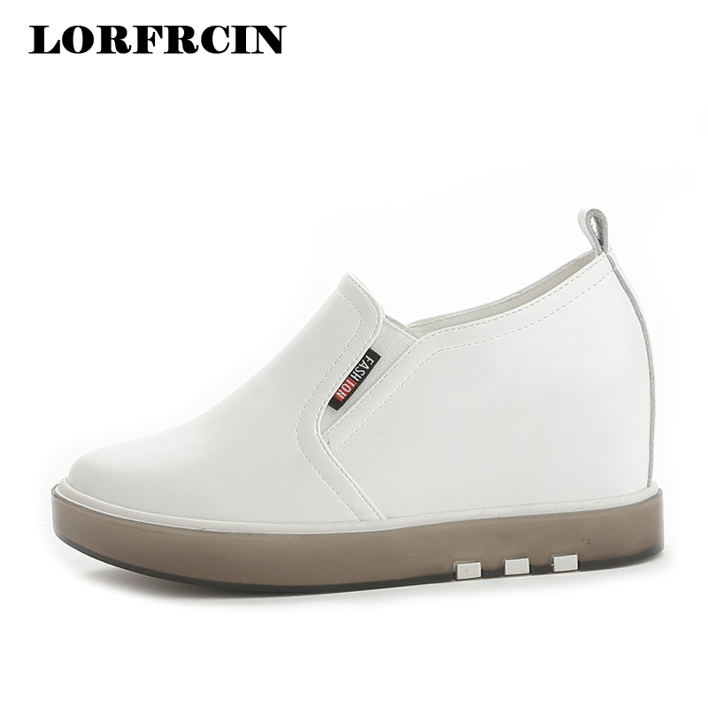 Size 33 Shoe In Us.Us 25 15 32 Off Size 33 40 Women S Shoes Height Increasing White Casual Shoes Woman Black Leather Wedges Platform Sneakers Hidden Heel Loafers In