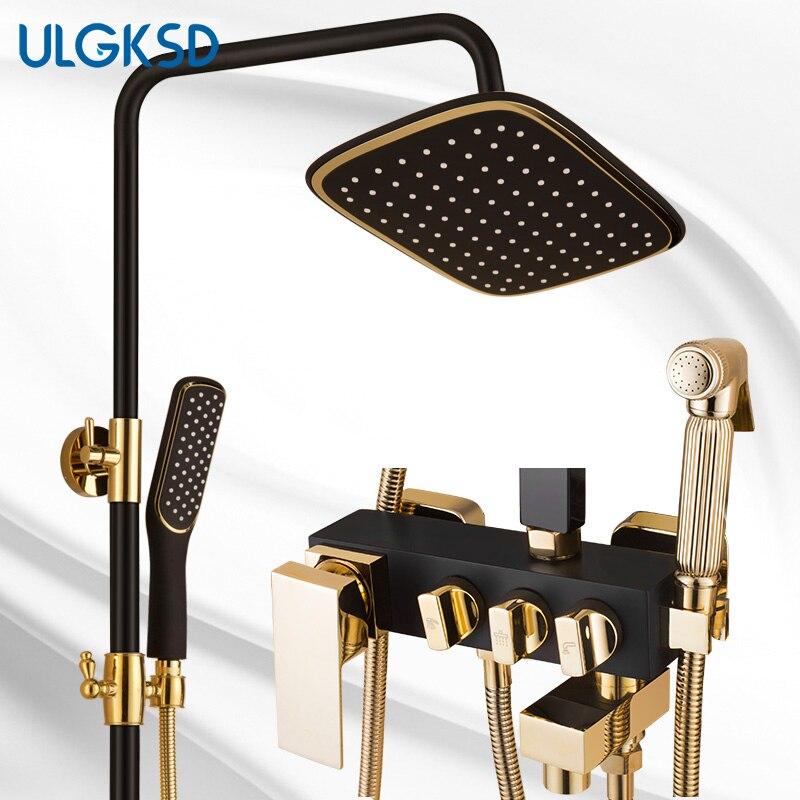 ULGKSD новые смеситель для душа настенный черный ванна кран осадки Насадки для душа с ванной смеситель водопроводной воды
