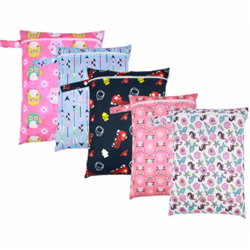 Baby 30*40cm Single Pocket Diaper Bag TPU Polyester Waterproof Wet Nappy Bags Pail Liner Laundry Bags For Portable Cloth Diapers