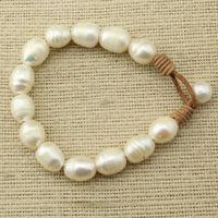 Un Véritable D'eau Douce Perle Café En Cuir Bracelet blanc riz Bracelet de mode