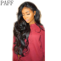 36C Body Wave Glueless Lace Front Human Hair Wig Remy Hair Brazilian 28inch Side Part Wig With Natural Hairline Baby Hair