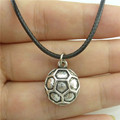 """Free shipping Y9572 Vintage Silver Alloy Football Soccer Pendant Sports Necklace 17"""" Leather"""