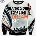 "Mr.1991 brand 12-18years big kids brand sweatshirt 3D printed ""WORK HARD DREAM"" hoodies girls jogger sportwear teens boys W41"