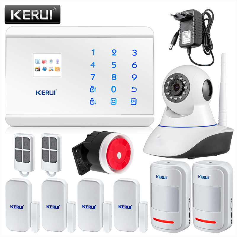 KERUI 8218G White Panel 433Mhz Wireless Wired Zones IOS Android App Control GSM PSTN Alarm Systems Security Home цена