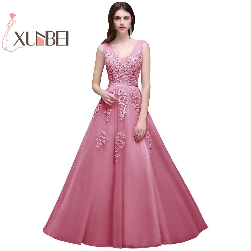 Robe De Soiree Cheap V-neck Burgundy Pink Long   Bridesmaid     Dresses   2019 Beaded Applique Tulle Prom   Dresses   Party Gown